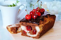 Plum cake food  chocolate cherry close-up still Royalty Free Stock Photo