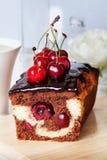 Plum cake food  chocolate cherry close-up still Stock Photos