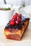 Plum cake food  chocolate cherry close-up still Stock Images