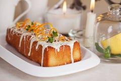 Plum cake food white chocolate, orange zest, thyme Stock Images