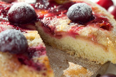 Plum cake. With powdered sugar on a white plate Royalty Free Stock Images