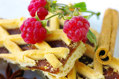 Plum cake with raspberry Stock Photos
