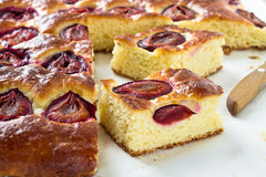 Plum cake and slices of plum cake Royalty Free Stock Image
