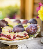 Plum cake on  table in garden Royalty Free Stock Images