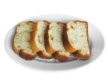 Plum cake on white dish. Royalty Free Stock Photos