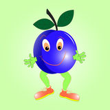 Plum character cartoon blue vector. Plum cartoonish with  green background Stock Photo
