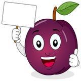Plum Character Holding een Lege Banner Stock Afbeelding