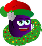 Plum with Christmas wreath and Santa hat Royalty Free Stock Photos