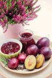 Plum chutney. Homemade plum chutney - goods in jar Royalty Free Stock Photography