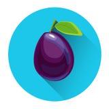 Plum Colorful Fruit Icon Image libre de droits