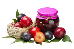 Plum compote and fresh plums Stock Images