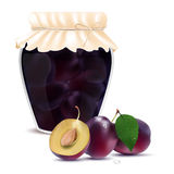 Plum compote in a jar and fresh plums Royalty Free Stock Photography