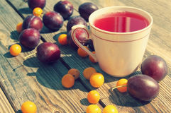 Plum compote in a white mug and fresh plums with a cherry plum Stock Images