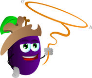 Plum cowboy with lasso Royalty Free Stock Image