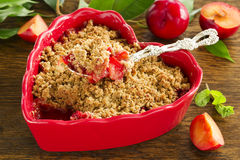 Plum crumble. Stock Photo