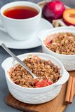 Plum crumble pie or plum crisp with oats and spices, in baking d royalty free stock photography