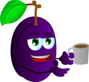 Plum with a cup of coffee Stock Photos