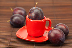Plum  in a cup and saucer Stock Images