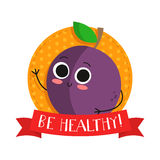 Plum, cute fruit vector character bagde Royalty Free Stock Images