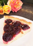 Plum dessert. Piece of plum pie / Sweet baked dessert Royalty Free Stock Images