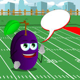Plum with fingers crossed on a football field  with speech bubble Royalty Free Stock Photo