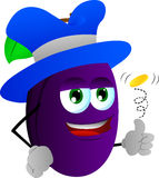 Plum flipping a coin Royalty Free Stock Image