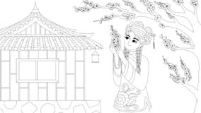 Chinese girl wearing traditional costume enjoy plum flowers under the tree, for design element and coloring book page for anti str. Ess.Vector illustration stock illustration