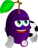 Plum with football or soccer ball Royalty Free Stock Photos