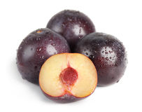Plum fruit with dew Stock Photos