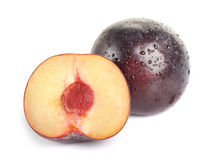 Plum fruit with dew Royalty Free Stock Image