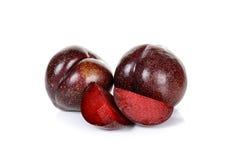 Plum fruit isolated on the white background Stock Image