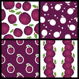 Plum Fruit Seamless Patterns Set Fotografia Stock Libera da Diritti