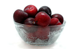 Plum fruits. In the bowl stock photography