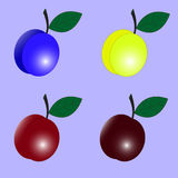 Plum vector. Plum funny cartoon yellow blue red with purple background Royalty Free Stock Photography