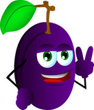 Plum gesturing the peace sign Royalty Free Stock Photo