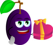 Plum with gift for Valentines Day Stock Images