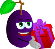 Plum giving you a gift box Stock Photography