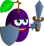 Plum  guard with shield and sword Royalty Free Stock Images