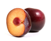 Plum with half Stock Photography