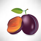 Plum and half of plum Royalty Free Stock Photo