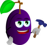 Plum handyman with hammer Royalty Free Stock Image