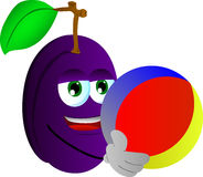 Plum holding a beach ball Royalty Free Stock Images