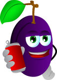Plum holding beer or soda can Royalty Free Stock Photos
