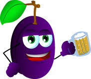 Plum holding beer Stock Photography