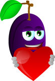 Plum holding a big red heart Stock Image