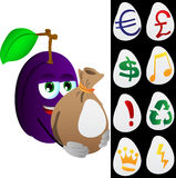 Plum holding a big sack with variable signs Royalty Free Stock Images