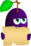 Plum holding a blank old paper Royalty Free Stock Photos