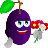 Plum holding a bunch of flowers Royalty Free Stock Images