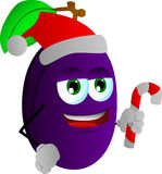 Plum holding a candy cane and wearing Santa's hat Royalty Free Stock Image