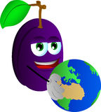 Plum holding Earth Stock Images